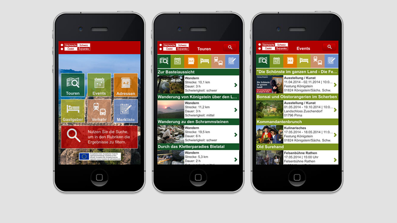 Elbsandsteingebirge Tourismus: iPhone-App, Android-App und mobile Website